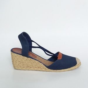 8c4da6b0ea0 Ralph Lauren Navy Blue Espadrille Wedge Sandals 9